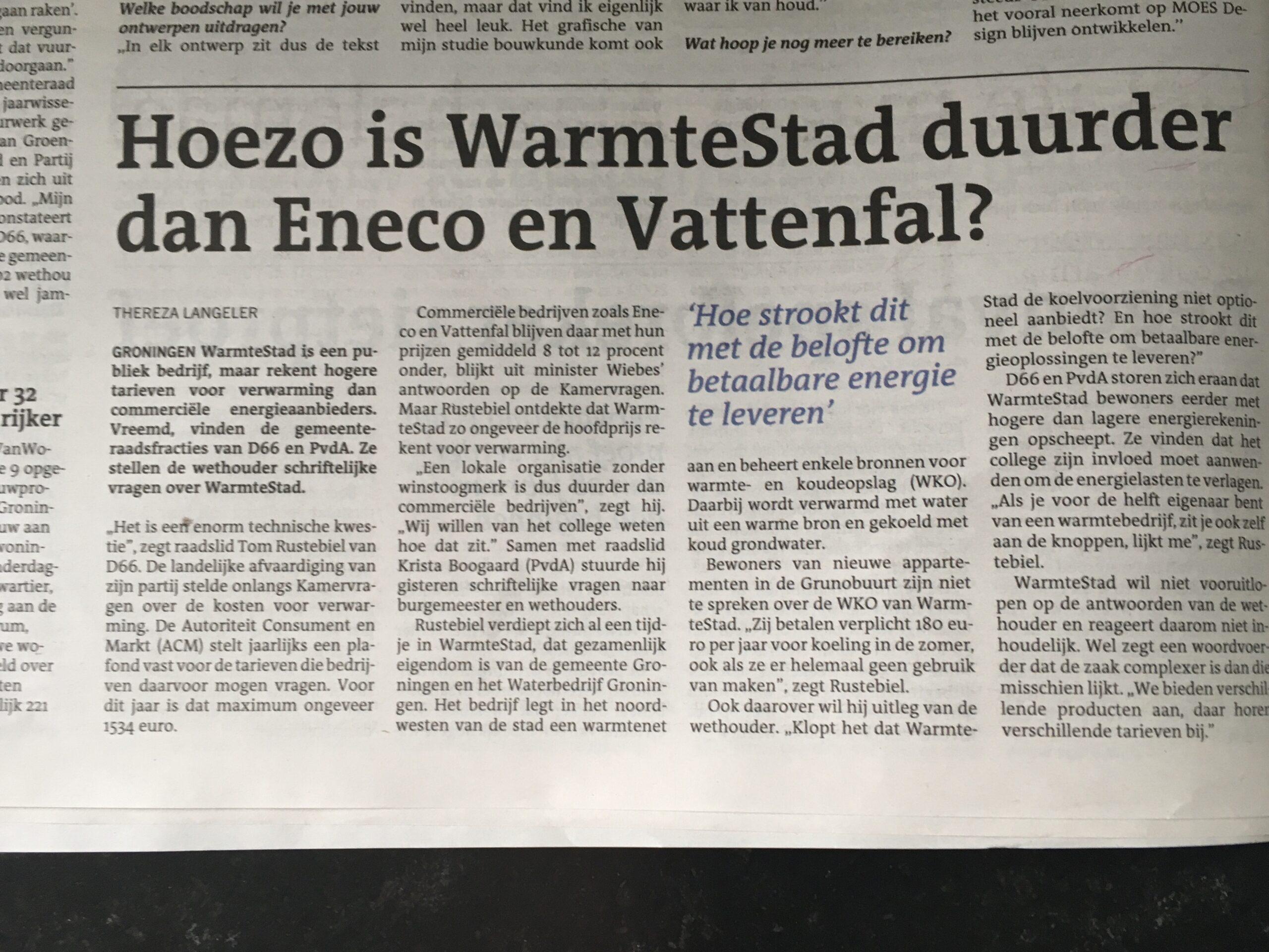 Vragen D66 over energieprijzen WarmteStad